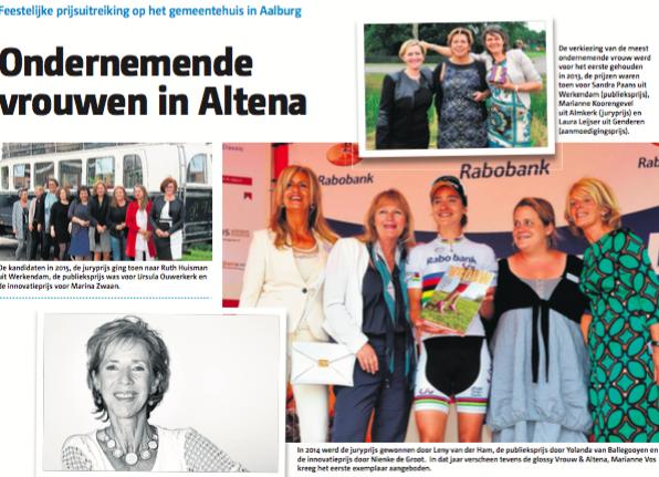 Persberichten verkiezing Ondernemende Vrouw van Altena